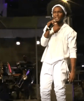 2018 Calypso Monarch Helon Francis on stage during his winning performance