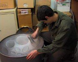 At work manufacturing a steelpan at Panyard Inc.