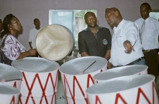 Touring the Panland steelpan manufacturing facility, Nigeria