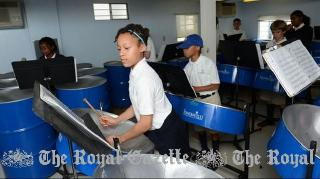 Students from Somersfield Academy practice for their upcoming steel Pan Jazz Festival in May. (Photo by Akil Simmons )
