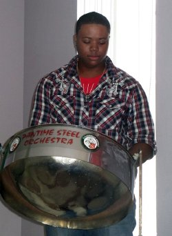 Player from St. Lucia's Pantime Steel Orchestra
