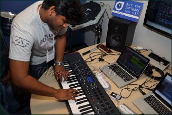 Via keyboards, steelpan musician Johann Chuckaree demonstrates the capabilities of the Indigisounds software
