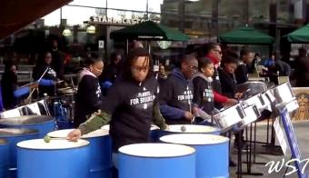 CASYM Steel Orchestra performs in front of the Barclays Center Arena