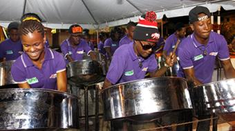 Members of Diatonic Pan Institute of Siparia performing during the Glorious Steel Fest launch held at the Victor Chin Kit Park, Point Fortin on Saturday during the Point Fortin Borough Day 2014 celebration launch.