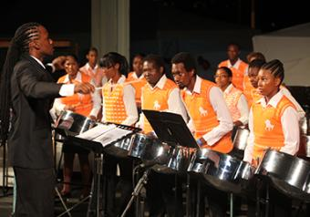 Musical conductor Akua Leith leads Clico Sforzata Steel Orchestra in the performance of the tune-of-choice Jupiter—The Bringer of Jollity composed by Gustav Holst during Saturday's preliminaries of Pan Is Beautiful XII, National Steelband Music Festival held at the Queen's Park Savannah in Port-of-Spain