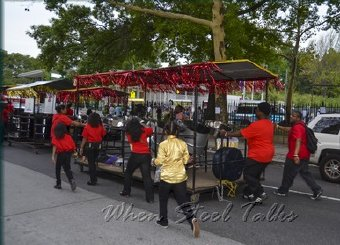 Sonatas Steel Orchestra rolling racks of pan into the museum for the 2014 New York Panorama
