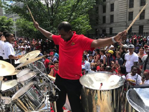 Salmon Cupid directing Toronto All Stars Steel Orchestra at the Raptors parade in 2019