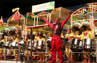 Arranger Duvone Stewart leads BPTT Renegades to victory in the 2018 Panorama finals with the performance of Year to Love at Queen's Park Savannah, Port of Spain.
