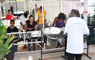 Flamingoes Steel Orchestra at practice